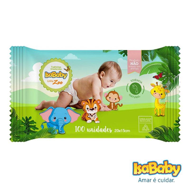 Toalhas Umedecidas IsaBaby Zoo com 100 Unidades (Etiqueta Rígida)..
