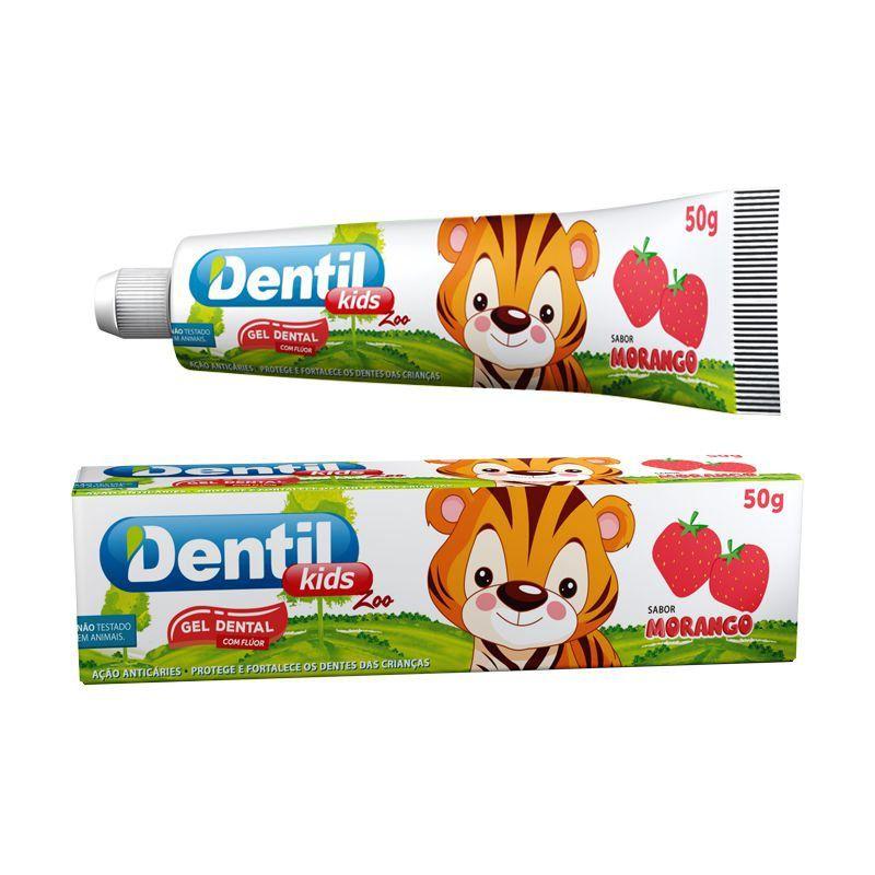 Gel Dental Dentil Kids Zoo Morango c/ Flúor 50g Baixa abrasividade