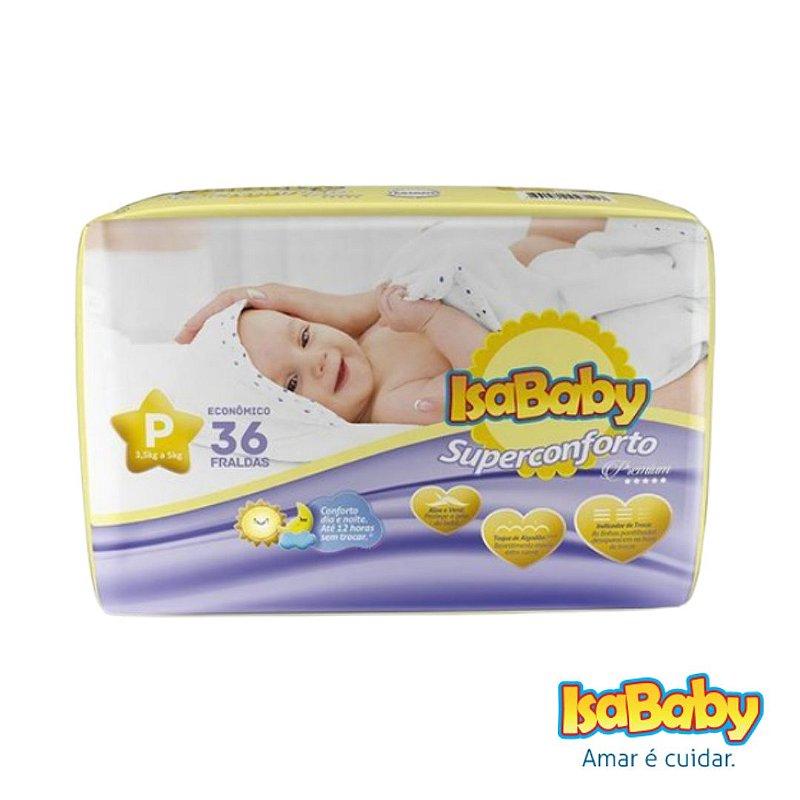 Fralda IsaBaby Premium Jumbo P 36 Unidades (de algodão muito macio)