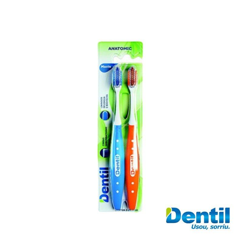 Escova Dental Dentil Anatômica Macia 2 Unidades cerdas arredondadas
