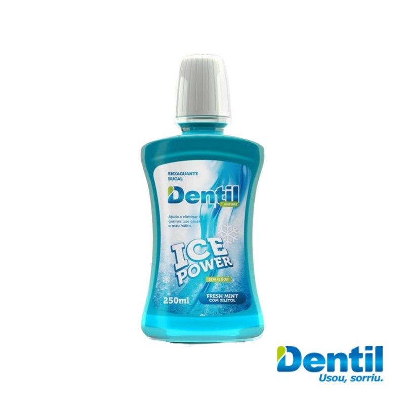 Enxaguante Bucal Dentil Ice Power c/ Xilitol 250ml (anti-séptico).