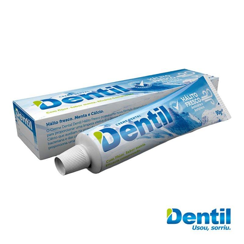 Creme Dental Dentil Hálito Fresco c/ Flúor 90grs ( anti placas )...