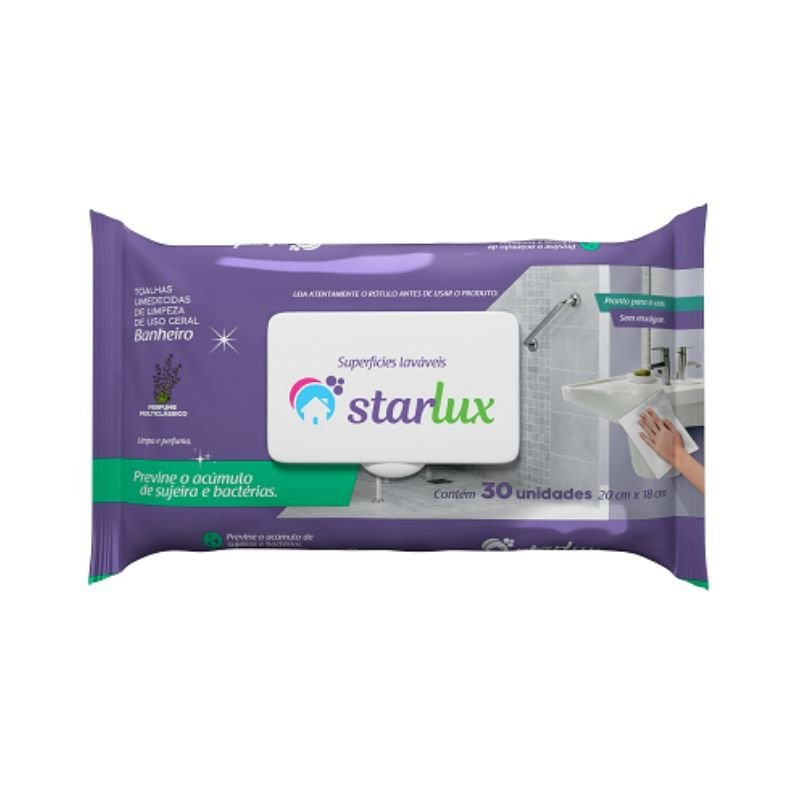 Toalha Umedecida Para Limpeza Banheiro 30 Unidades - Linha Starlux