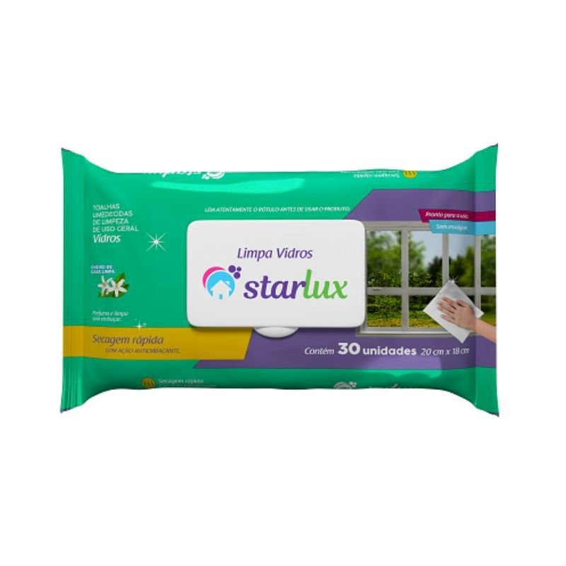 Toalha Umedecida Limpa Vidros Biodegradável 30 Unidades - Starlux