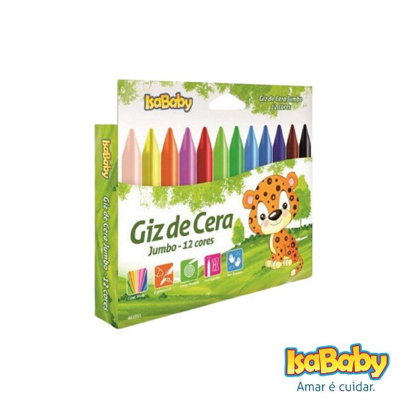 Giz Plastico Isababy Zoo Maped Jumbo 12 Cores traços finos e largos