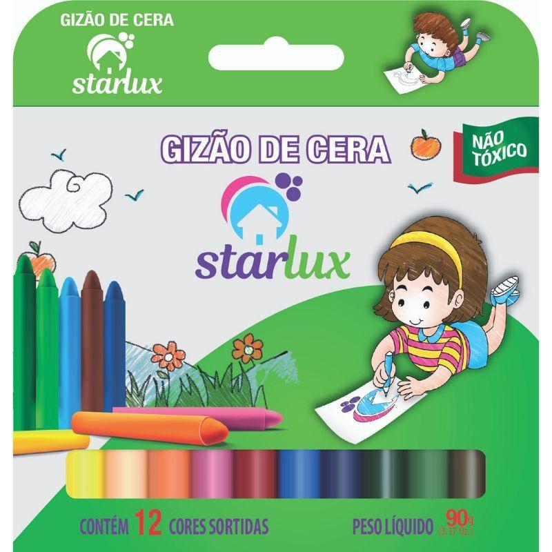 Gizao De Cera Starlux 12 Cores (Produto Atóxico, Formatos Variados)