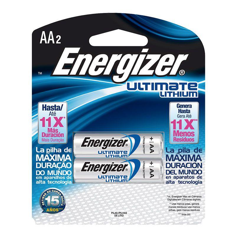 Pilha Energizer Lithium Pequena AA2 (Maior Duração, 7 Vezes Mais)