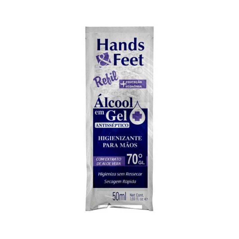 Álcool Em Gel Sachê Higienizante Mãos 50ml - Linha Hands And Feet