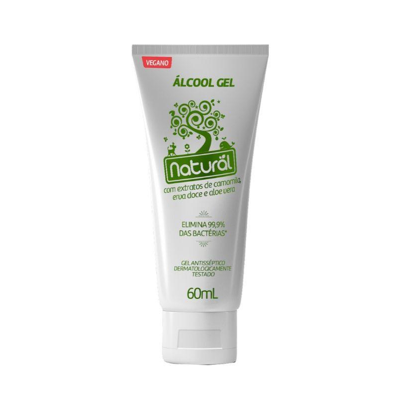 Alcool Gel Organico Natural Vegano 60g(Elimina 99,9% das Bactérias)