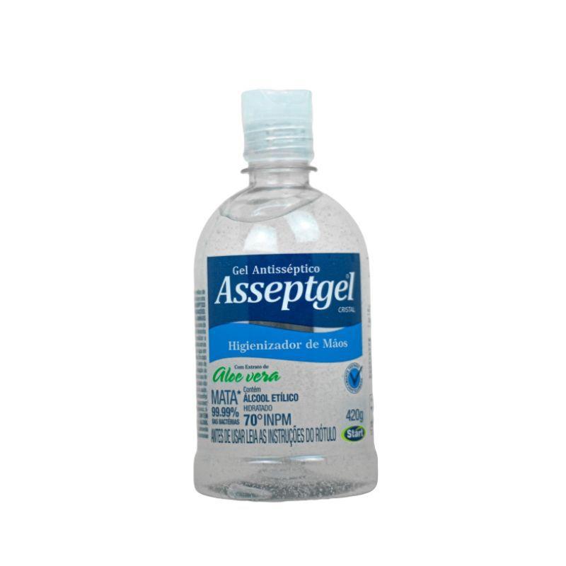 Gel p/Mãos Asseptgel Cristal 420g ( Com Hidratantes e Aloe Vera )