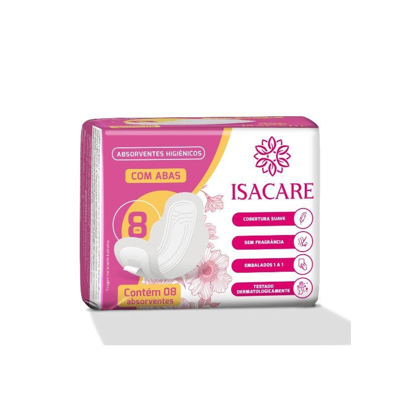 Absorvente Higienico Isacare com Abas ( Suave e Sem Fragrância )