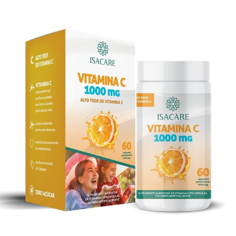 Vitamina C Suplemento 1000 MG Contém 60 Cápsulas - Linha Isacare