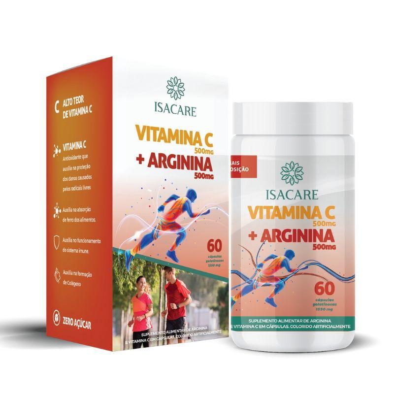 Vitamina C + Arginina 500 MG Contém 60 Cápsulas  -  Linha Isacare