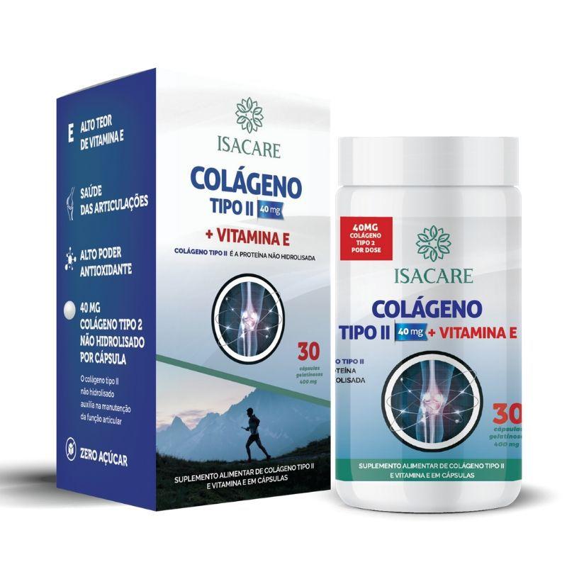 Vitamina E + Colágeno Tipo II Contém 30 Cápsulas -  Linha Isacare