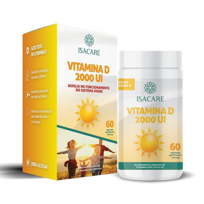 Vitamina D 2000UI Contém 60 Cápsulas Zero Açúcar - Linha Isacare