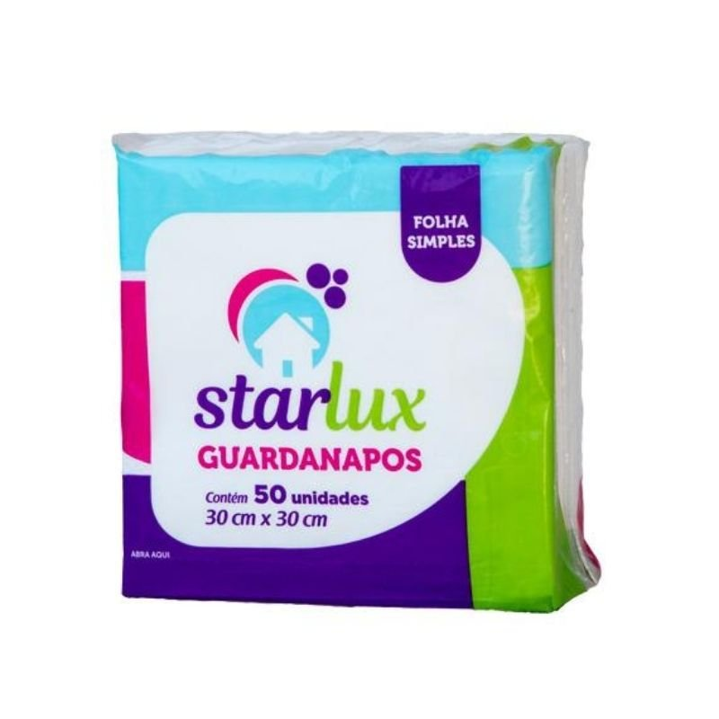 Guardanapo Folha Simples 30X30CM Contém 50 Folhas - Linha Starlux