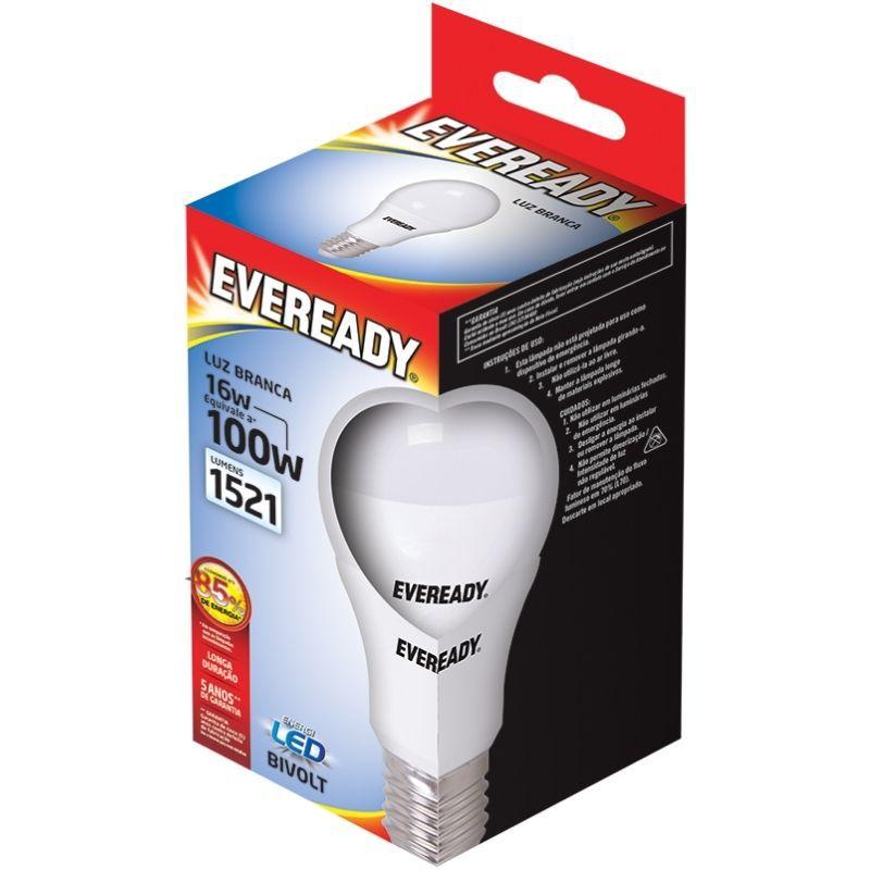 Lâmpada  Led 16W (100W) Bivolt 6500K Luz Branca - Linha Eveready