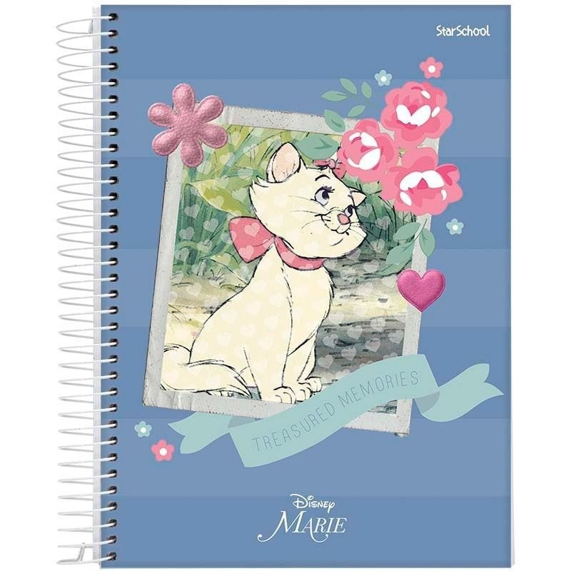 Caderno Disney Marie  Espiral Capa Dura 80  Folhas  –  StarSchool