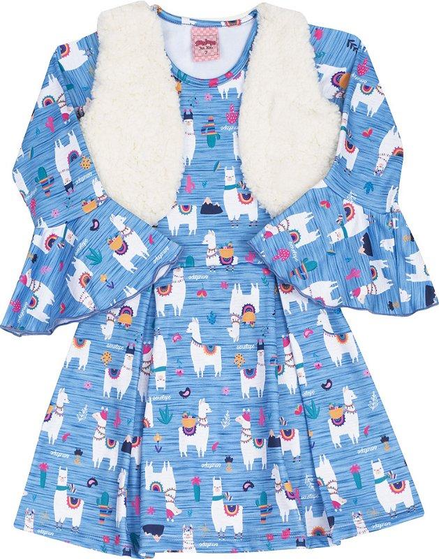 Vestido com Colete Lhama azul - Serelepe Kids
