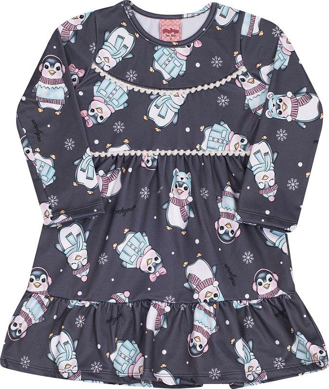 Vestido Pinguim Chumbo - Serelepe Kids