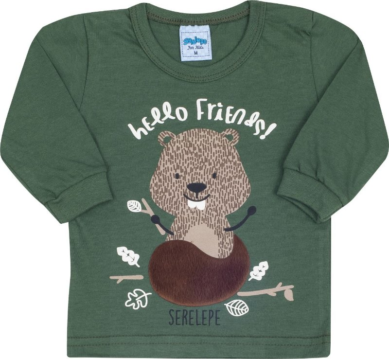 Blusa Avulsa Hello Friends Verde - Serelepe Kids