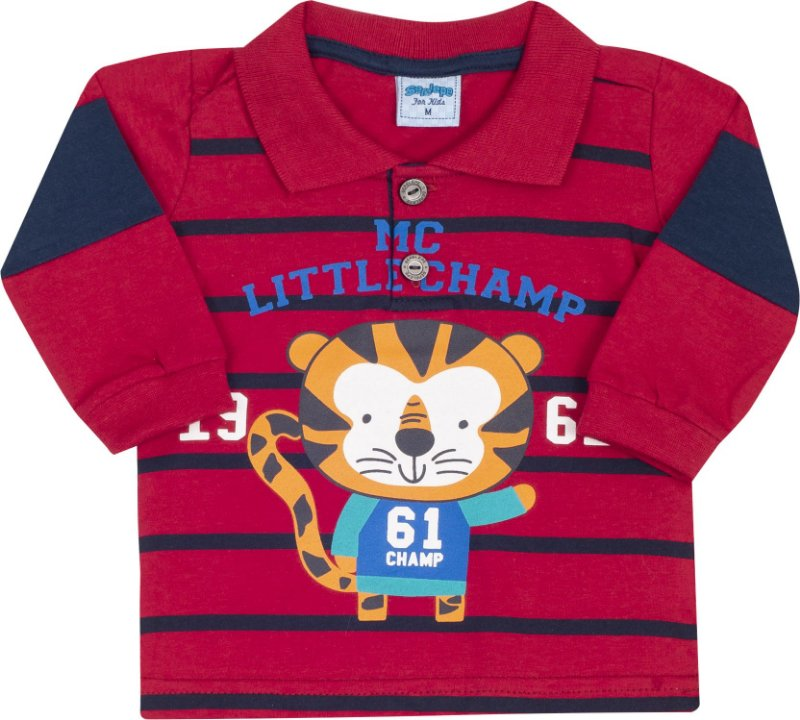 Camisa Avulsa Gola Polo Tigre Vermelho - Serelepe Kids
