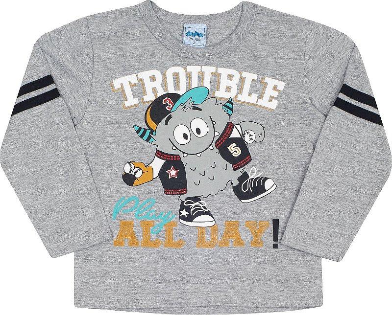 Camiseta Avulsa Trouble Mescla - Serelepe Kids
