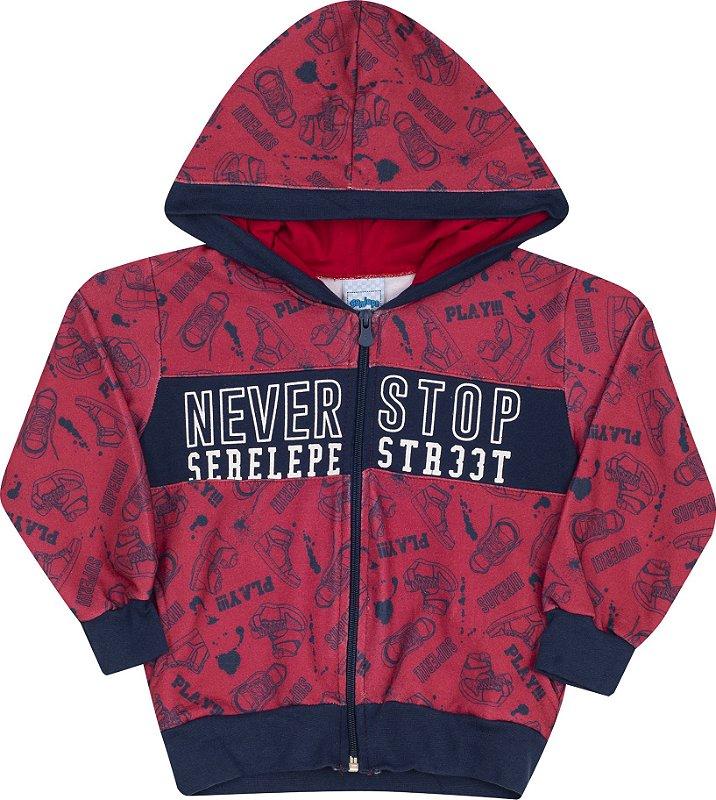 Conjunto com Capuz Never Stop Vermelho - Serelepe Kids