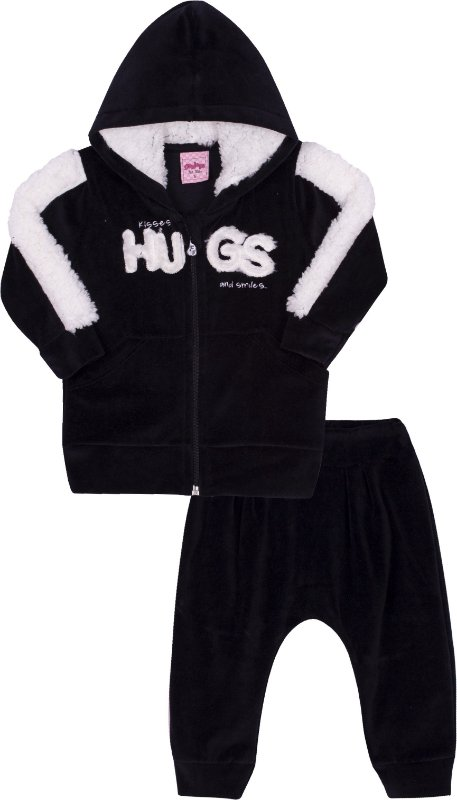 Conjunto em Moletom Hugs Preto - Serelepe Kids