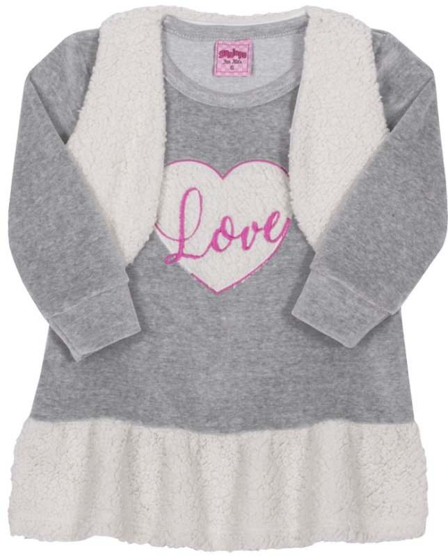 Vestido Love Mescla - Serelepe Kids