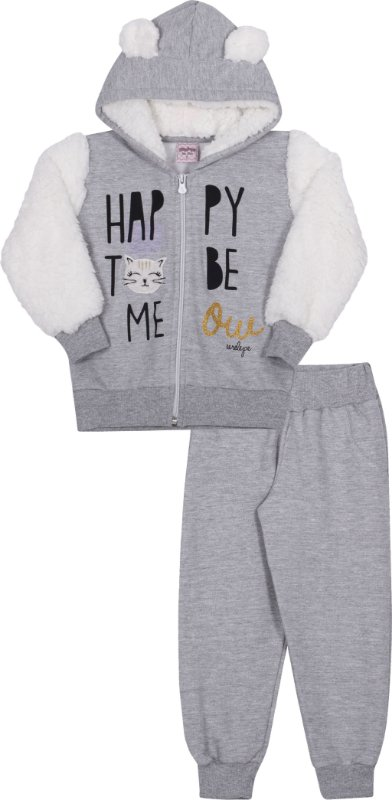 Conjunto em Moletom Happy Mescla - Serelepe Kids