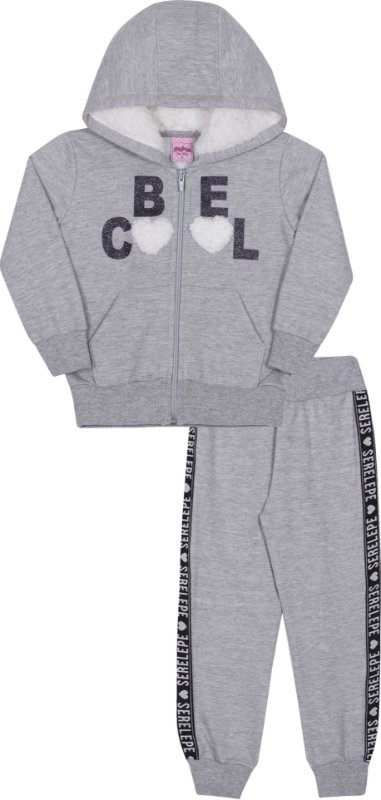 Conjunto em Moletom Be Cool Mescla - Serelepe Kids