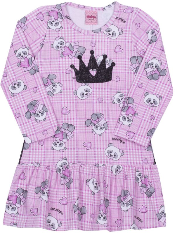 Vestido em Cotton Panda Rosa  - Serelepe Kids