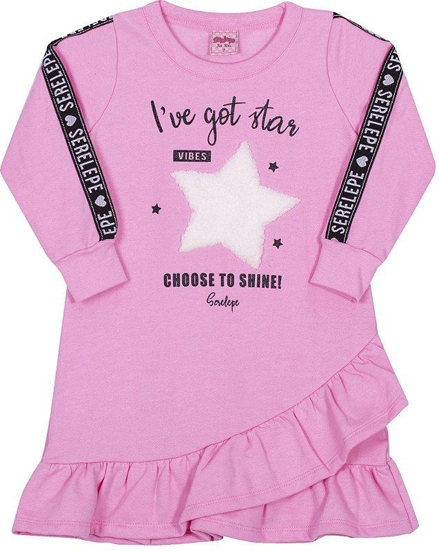 Vestido em Moletom Estrela Begonia - Serelepe Kids