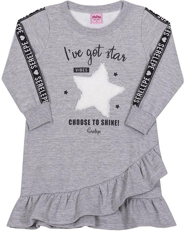 Vestido em Moletom Estrela Mescla - Serelepe Kids