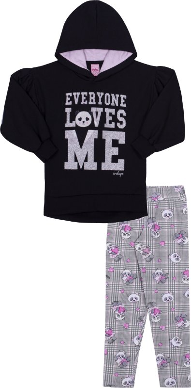 Conjunto em Moletom Loves Me Preto - Serelepe Kids