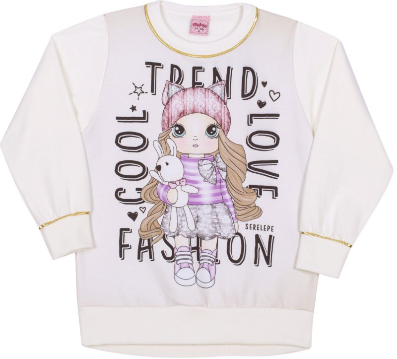 Blusão em Moletom Fashion Off White - Serelepe Kids