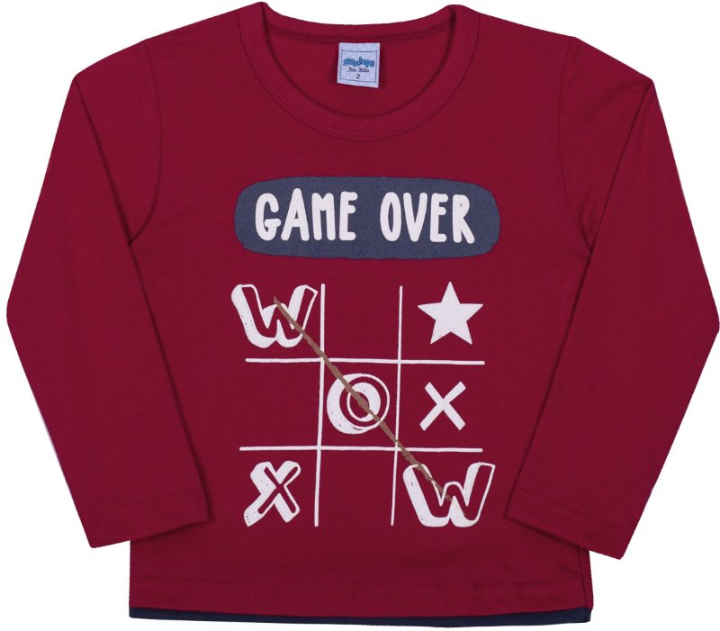 Camsieta Avulsa infantil Game Over Cabernet - Serelepe Kids