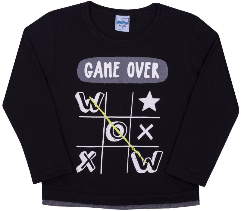Camsieta Avulsa infantil Game Over Preto - Serelepe Kids