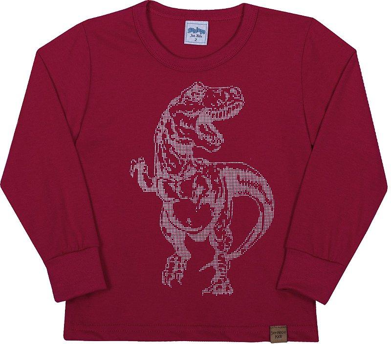 Camiseta Avulsa Infantil Dinossauro Cabernet - Serelepe Kids