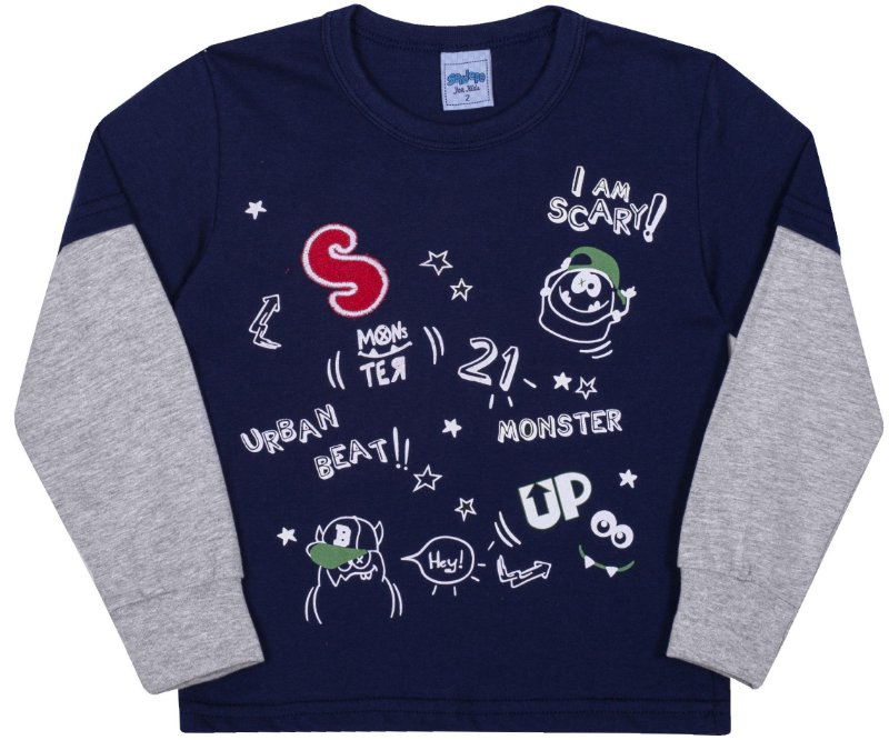Camiseta Avulsa Infantil Monster Marinho - Serelepe Kids