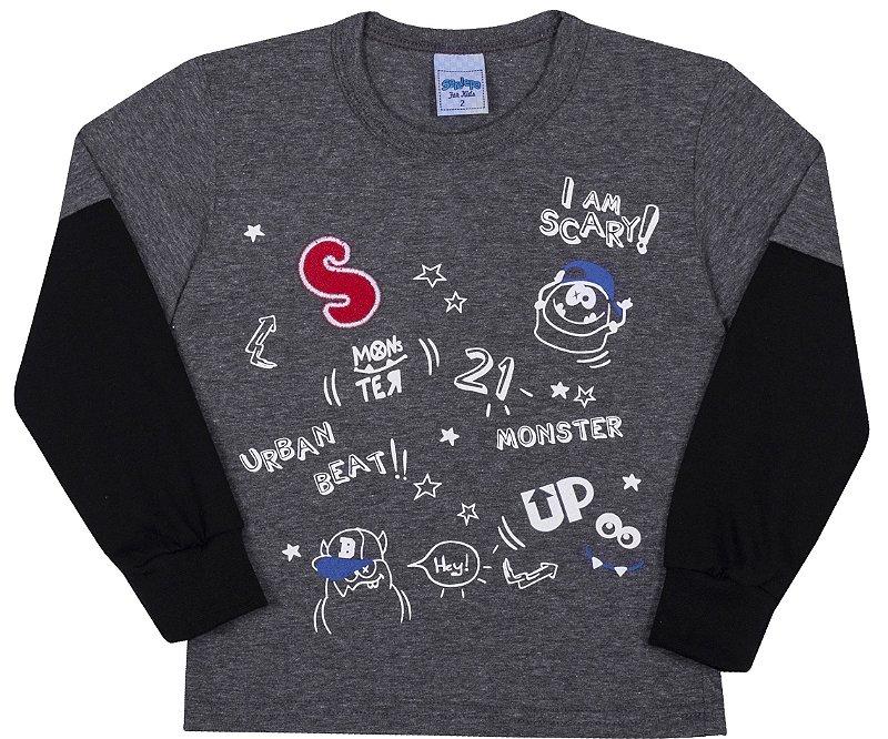 Camiseta Avulsa Infantil Monster Mescla Escuro - Serelepe Kids
