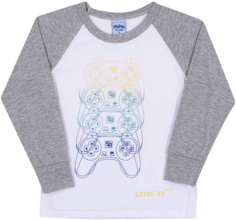 Camiseta Avulsa Infantil Level Up Branco - Serelepe Kids