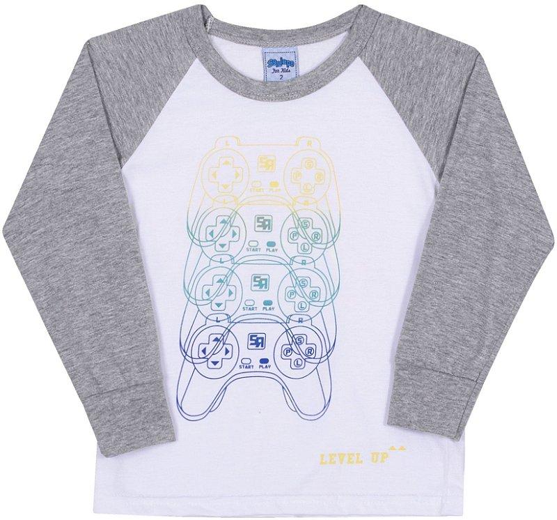 Camiseta Avulsa Infantil Level Up Branco - Serelepe Kids