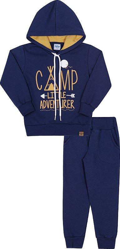 Conjunto Infanil Com Capuz Camp Marinho - Serelepe Kids