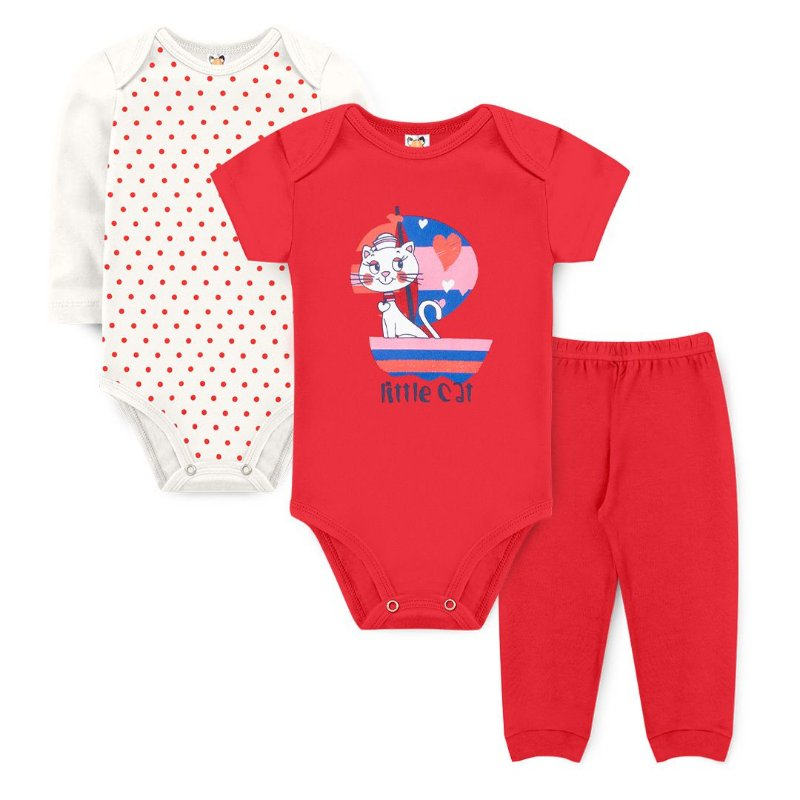 Kit Body Little Cat Vermelho - Sucrillá Basic
