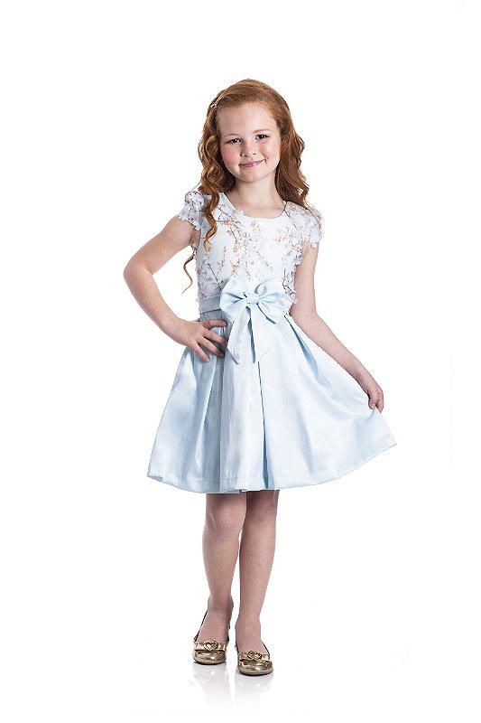 Vestido em Cotton Cetim Jardim Azul - Miss Lepe