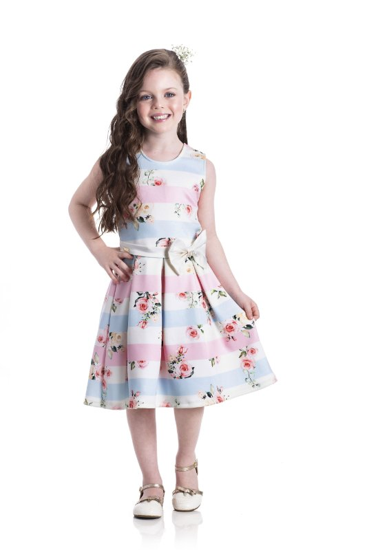 Vestido em Neoprene Listras Colorido - Miss Lepe