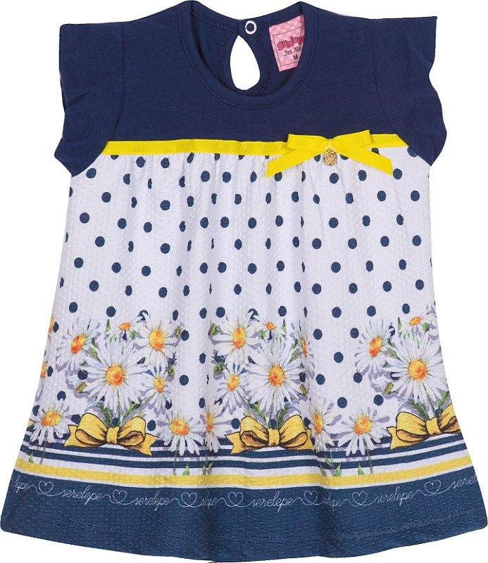 Vestido em cotton Margaridas Marinho - Serelepe Kids