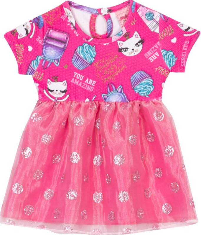 Vestido Cats Pink - Serelepe Kids